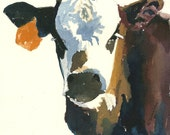 Cow painting Cow original watercolor painting on paper Cow art Cow picture Cow decor White faced calf painting