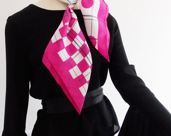 European 1960s pink white Op Art abstract Scarf/ 1970s geometric scarf/ Modernist scarf