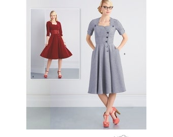 Retro Dress, Button Front with Full Skirts, Simplicity 8259 Sewing Pattern US Sizes  8 -10 -12 -14 -16 or 18 -20 -22 -24 -26