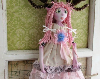 Little Dear Girl, handmade puppet art doll, doll ornament made in the USA