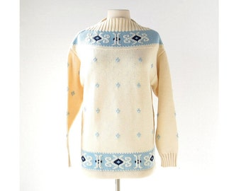 Vintage Austrian Sweater / 1960s Sweater / Ski Sweater / Deadstock / Large L