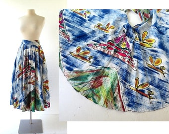 1950s Circle Skirt | Fishing Village | Hand Painted Mexican Skirt | 50s Skirt | 25-27W XS S