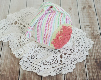 3 to 6 month baby hat // sitter prop //  photo porp // baby photography // shabby chic // stocking hat // summer prop // rainbow // coral