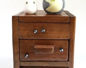 Totoro dolls on TEAK WOOD BOX with drawers 166