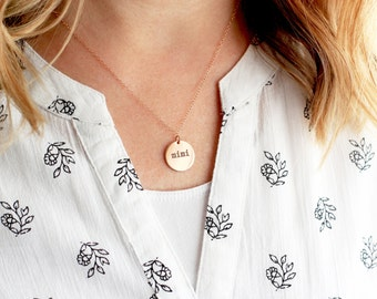 "5/8"" Engraved Disc Necklace - Keepsake Gold Sterling Silver Rose Gold Custom Personalized Bridesmaid Gift Wedding Initial Necklace Name"