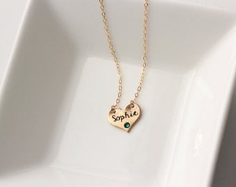 Children's Engraved Heart Necklace - Personalized Keepsake Engraving for Flower Girl, Wedding, Child Gift Kids name, Children's Jewelry Gift