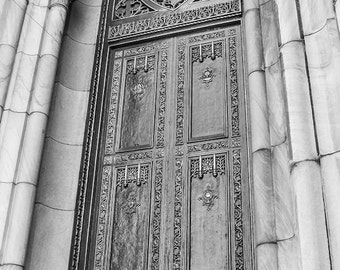 St. Patrick's Cathedral Church Doors Fine Art Print - Gothic, Antique, Catholic, Religion, Architecture, Home Decor