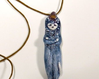 Bastet Cat Blue Pendant Necklace Handmade Ceramic Kitty Ornament Charm Active Egyptian Bast