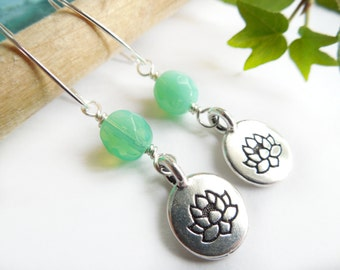 Lotus Charm Earrings, Lotus, Earrings, Boho Chic, Trendy Zen Jewelry, Yoga, Bohemian, Gift Idea