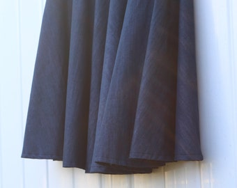 Circle Skirt, Chambray Indigo, Light weight, looks like denim, with a lovely drape, Custom Made in ALL lengths and sizes from petite to plus