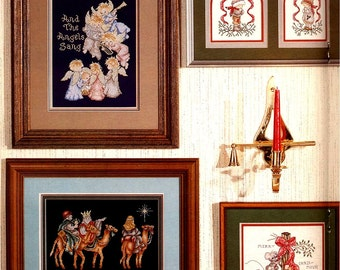 And the Angels Sang, Vintage 80's Counted Cross Stitch Stoney Creek Collection Book 16 Three Wise Men, Peace Dove, Glory to the Newborn King