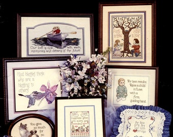 Because You're Special Vintage 80's Counted Cross Stitch, Cross My Heart Pattern Book CSK-43 Love Hummingbird God Glory of Life Prayer
