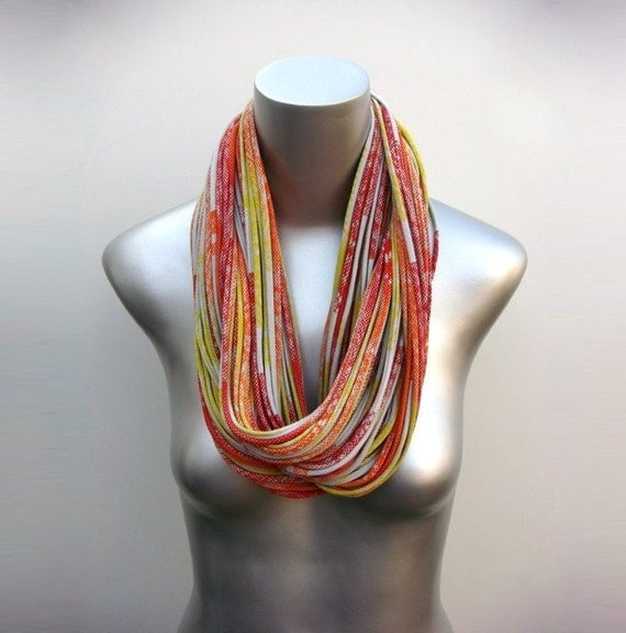 Girlfriend Gift, Orange Scarf, Gift For Her, For Girlfriend, Gifts for Mom, Gift Ideas, Infinity Scarves, Yellow Scarf