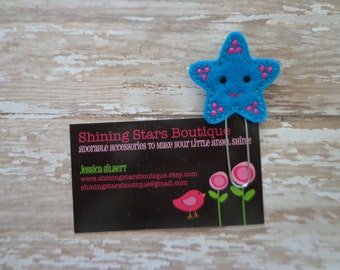 Felt Paperclips - Dark Turquoise Blue And Hot Pink Summer Starfish Paper Clip Or Bookmark - Ocean Accessory For Planners, Calendars, Or Book