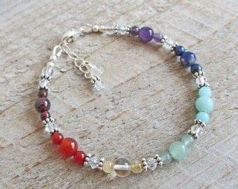 Chakra Healing Gemstone Bracelet, Yoga Jewelry, Spiritual Healing Bracelet
