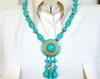 Aqua Blue Pendant Tassel Necklace Vintage Beaded