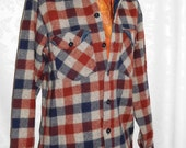 Plaid Woolrich Wool Shirt Jacket Size Mens Small Vintage 70s