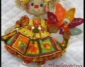 "Primitive Raggedy 14"" Autumn/Fall ""ThAnKsGiViNg AnniE"" w/Turkey Ornie~Necklace"