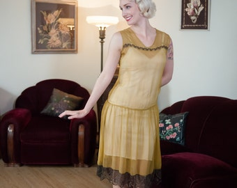 Vintage 1920s Dress - Sheer Mustard Yellow Silk Chiffon 20s Dress with Black and Gold Lamé Lace Trim