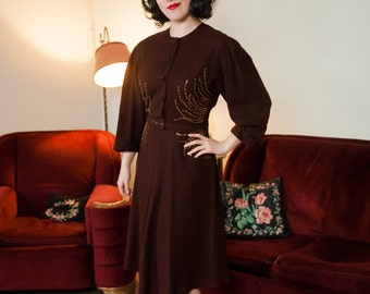 Vintage 1930s Dress - Splendid Chocolate Brown Wool Late 30s Day Dress with Elaborate Brass Studs and Belt