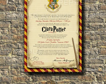 Harry Potter Invitation - Harry, Ron, Hermione, Hogwarts Invitation, Gryffindor - Print-at-Home PDF File