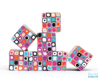 Hot pink, Sky blue, Orange, Purple and Black & White polymer clay 4x4 Dots Square cane raw, unbaked Fimo millefiori cane by Ronit Golan PM