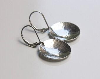 Leverback Sterling Silver Earrings - Jewelry For Mom - Silver Disc Earrings - Round Earrings - Minimalist Jewelry - Earrings For Women