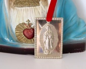 Silver GUADALUPE Tin Milagro-  Serious protection that we all need daily- Perfect for your pocket or religious altar