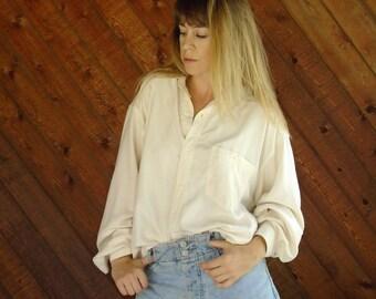 Cream Silk l/s Oversized Button Shirt - Vtg 90s - M/L