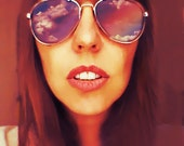 Aviator Sunglasses Gold or Silver Rhinestone Shades