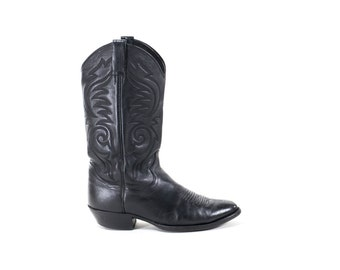Black Leather Cowboy Boots Vintage Western Boots Womens Size 9
