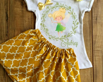 Personalized Tinkerbell Skirt Set - Tinkerbell Birthday Dress - Tinkerbell Tutu - Tinkerbell Outfit - Tinkerbell Dress - Tinkerbell Shirt