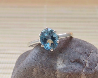 London Blue Topaz Ring Oval Sterling Silver December Birthstone Made To Order