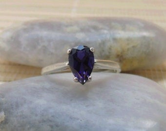 Iolite Pear Ring Sterling Silver September Birthstone Made To Order