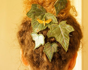 SALE Fiber Art Textile Ivy Hair Clips Green Leaf Leaves Botanical Hair Accessory Nature Lover Woodland Natural History Gift for Her