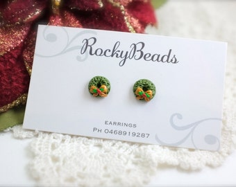 Polymer Clay Christmas Wreath Stud Earrings