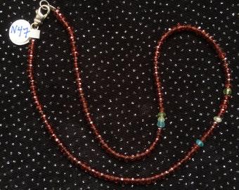Brown Garnet with Scattered Gemstone Necklace  N47