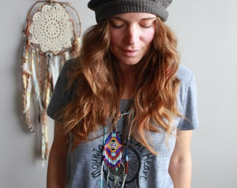 Brown Earthy Geometric Native Pattern Print Recycled Sweater Slouchy Tam Hat Beanie By MountainGirlClothing