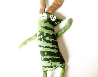 Plush Bunny, Recycled T-shirt Fabric, Baby Rabbit Toy