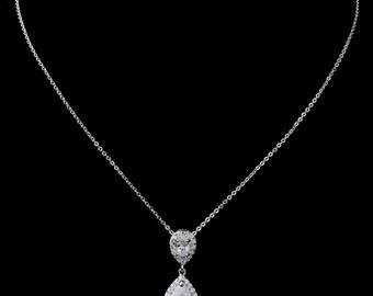 crystal bridal necklace pendant vintage style gold tear pear drop crystal bridal necklace Art Deco Baroque