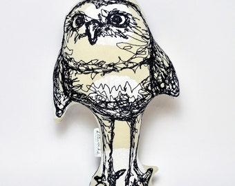 Spotted Owl- Thread Drawing Softie