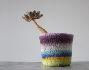 felted cactus or houseplant planter - plant pot with waterproof lining - textural planter -  stripes1 - colorful rainbow wool shades