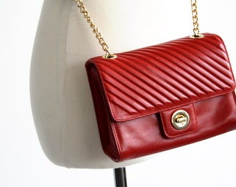 Cherry Red Leather Vintage Gold Chain Link Cross Body Purse
