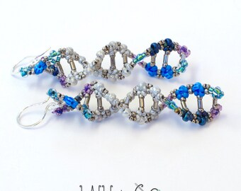 DNA Beaded Earrings in Blue Purple Sterling Silver