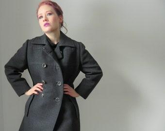 WINTER SPECIAL 1950s Military Charcoal Wool Double Breasted Vintage Heavy Pea Coat