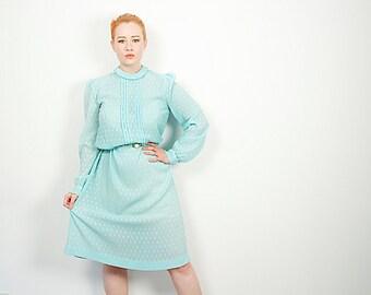 CLEARANCE Delicate Robin's Egg Blue Sheer Modest Vintage Dress