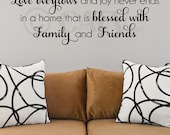 Love overflows and joy never ends in a home that is blessed with family and friends vinyl lettering wall saying quote sticker art