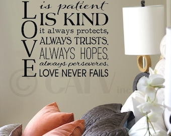 Love is patient love is kind it always protects...love never fails vinyl lettering wall decal sticker art removable