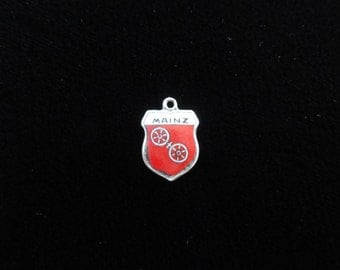 Mainz, Germany Coat of Arms- Travel Shield Enamel Charm, 800 Silver Charm, Vintage Charm, Red Enamel Pendant, Sterling Silver Charm