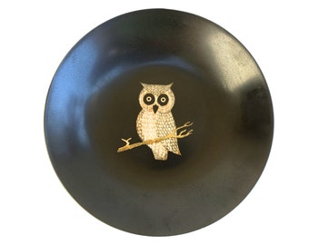 """Couroc Owl Bowl ~ Vintage Inlay bowl - Woodland Owl ~ by Couroc of Monterey California  7 3/4"""""""